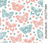 butterfly seamless pattern | Shutterstock .eps vector #141277684