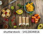tortilla wraps with vegetables. ... | Shutterstock . vector #1412834816