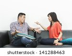 yound and happy chinese couple... | Shutterstock . vector #141288463