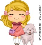 Illustration of a Little Girl with her Pet Dog - stock vector