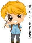 Illustration of Cute American Boy holding a Magnifying Glass - stock vector