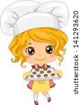 Illustration of Cute Little Girl Baking Cookies - stock vector