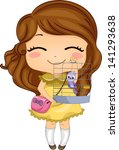 Illustration of Little Girl with her Pet Bird in a Birdcage - stock vector