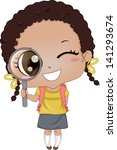 Illustration of Cute African-American Girl holding a Magnifying Glass - stock vector