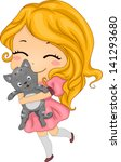 Illustration of a Little Girl Carrying her Pet Cat - stock vector