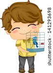 Illustration of Little Boy with his Pet Bird in a Birdcage - stock vector