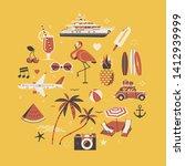 hot summer flat design vector... | Shutterstock .eps vector #1412939999