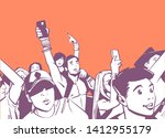 illustration of large crowd of... | Shutterstock .eps vector #1412955179