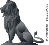 Metal Lion Statue Graphic Vector