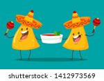 funny characters nachos with... | Shutterstock .eps vector #1412973569