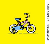 kids bicycle icon. girls cute... | Shutterstock .eps vector #1412994599