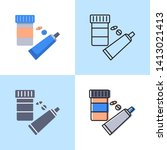 medication icon set in flat and ... | Shutterstock .eps vector #1413021413