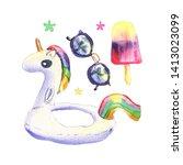 watercolor summer set with... | Shutterstock . vector #1413023099