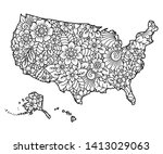 outline map of united states of ... | Shutterstock .eps vector #1413029063