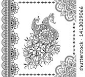 stylized with henna tattoo... | Shutterstock .eps vector #1413029066