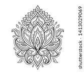 lotus mehndi flower pattern for ... | Shutterstock .eps vector #1413029069