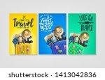 travelling poster set template... | Shutterstock .eps vector #1413042836
