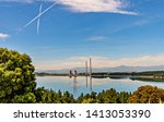 curious x shaped chemtrails... | Shutterstock . vector #1413053390