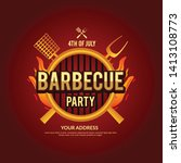 barbecue party vector flyer or... | Shutterstock .eps vector #1413108773
