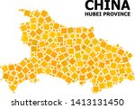 Gold square mosaic vector map of Hubei Province. Abstract mosaic geographic map of Hubei Province is combined from randomized flat rotated square items.