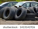 Old Large Truck Tires Piled In...