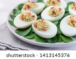 deviled eggs stuffed with...   Shutterstock . vector #1413145376
