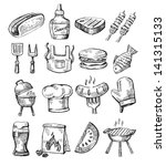 vector hand draw barbecue icon... | Shutterstock .eps vector #141315133