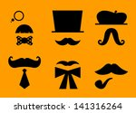 mustaches and hats retro... | Shutterstock .eps vector #141316264