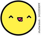 flat kawaii emoji face. cute... | Shutterstock .eps vector #1413203099