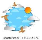birds flying in the sky among...   Shutterstock .eps vector #1413215873