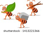 Set Ants Carry Leaf  Stone And...