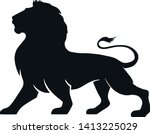 lion silhouette icon  side view.... | Shutterstock .eps vector #1413225029