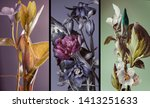 Small photo of three vertical botanical compositions, different colors different plants, triptych, illustration.