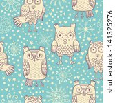 vector cartoons owl seamless... | Shutterstock .eps vector #141325276
