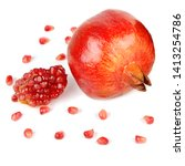 pomegranate fruit and seeds... | Shutterstock . vector #1413254786