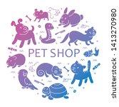 pet shop silhouette  types of... | Shutterstock . vector #1413270980