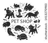 pet shop silhouette  types of... | Shutterstock . vector #1413270983