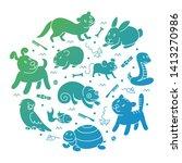 pet shop silhouette  types of... | Shutterstock . vector #1413270986