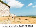 a beautiful wide sandy beach...   Shutterstock . vector #1413275909