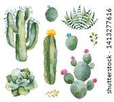 green set with watercolor... | Shutterstock . vector #1413277616