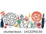 pizza background. pizza pattern.... | Shutterstock .eps vector #1413290150