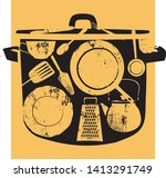 black sketched silhouette of... | Shutterstock .eps vector #1413291749