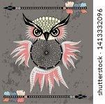 dreamcatcher owl boho style...   Shutterstock . vector #1413332096