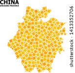 Gold square mosaic vector map of Zhejiang Province. Abstract mosaic geographic map of Zhejiang Province is organized from scattered flat rotated square parts.
