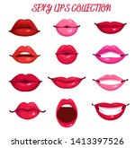 sexy red and pink lips vector... | Shutterstock .eps vector #1413397526