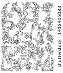hand drawn floral vector pack 02   Shutterstock .eps vector #1413405083