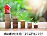 house model on money coins... | Shutterstock . vector #1413467999