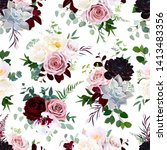 dark flowers vector floral... | Shutterstock .eps vector #1413483356