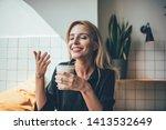 young beautiful caucasian happy ... | Shutterstock . vector #1413532649