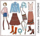 collection of bright boho... | Shutterstock .eps vector #1413542843